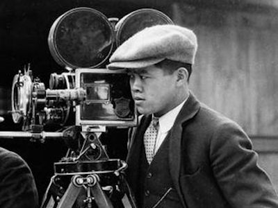 James Wong Howe and a movie camera